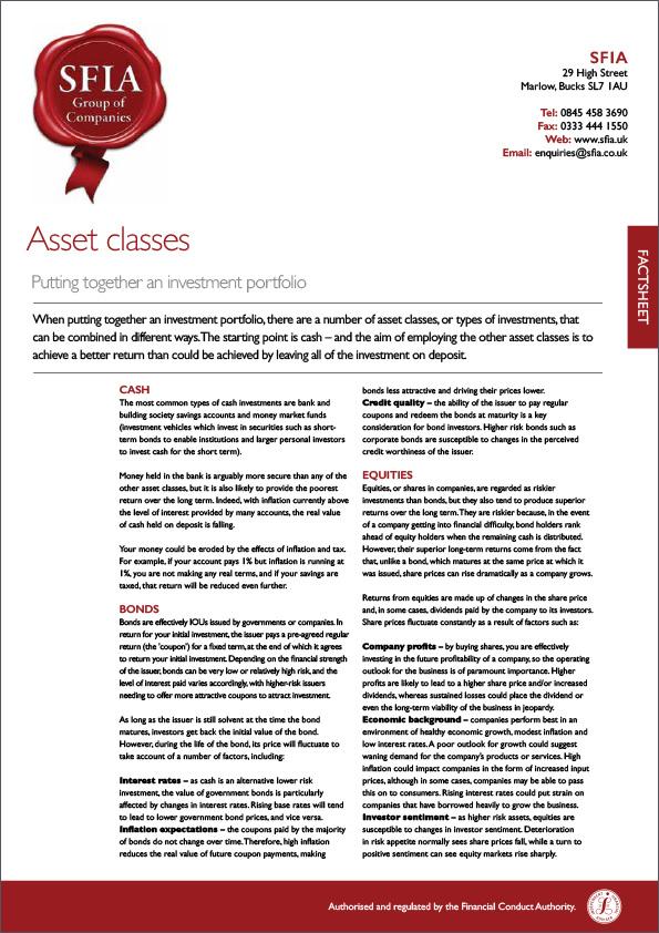 Asset Classes - SFIA Group Ltd
