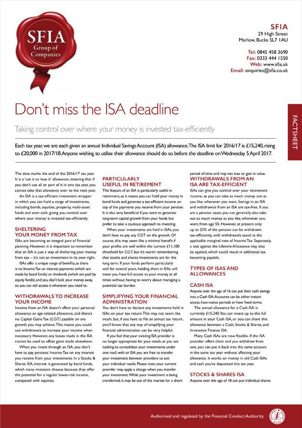 ISA Deadline - SFIA Group Ltd