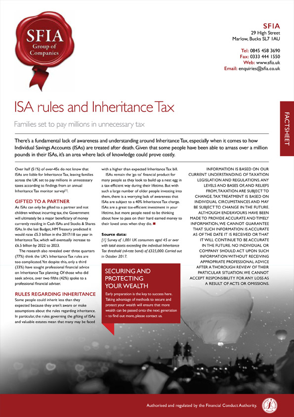 ISA rules and Inheritance Tax