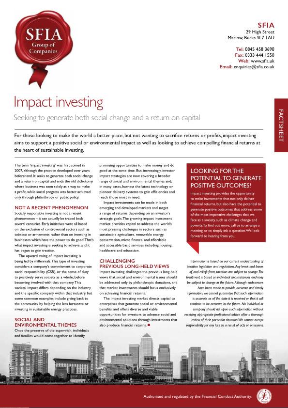 Impact Investing - SFIA Group Ltd