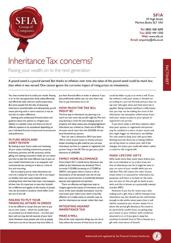 Inhertitance Tax Corncerns