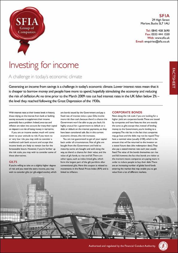 Investing for Income - SFIA Group Ltd