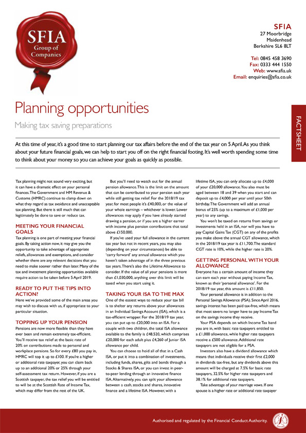 Planning Opportunties