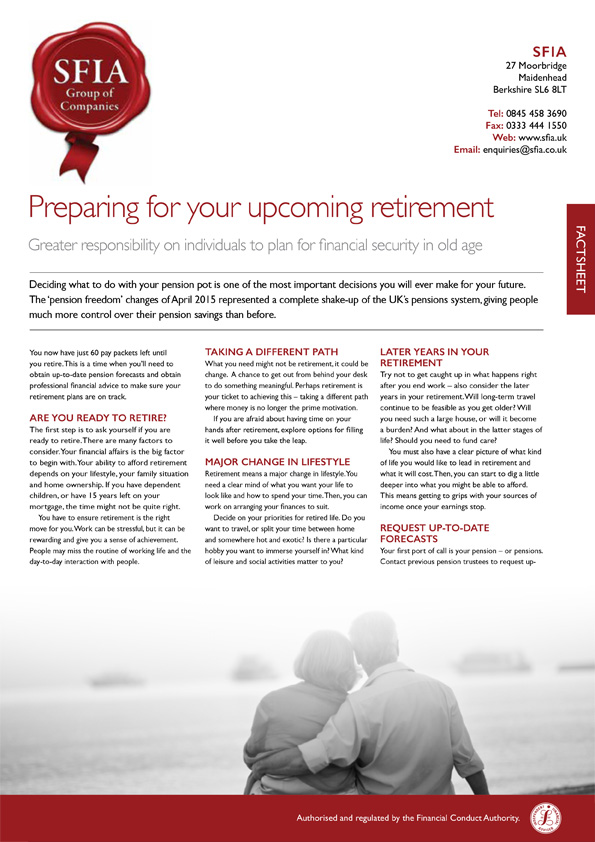 Preparing for your upcoming retirement