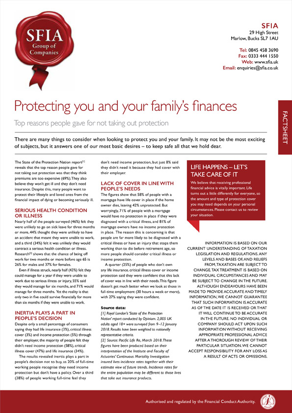 Protecting you and your familys finances