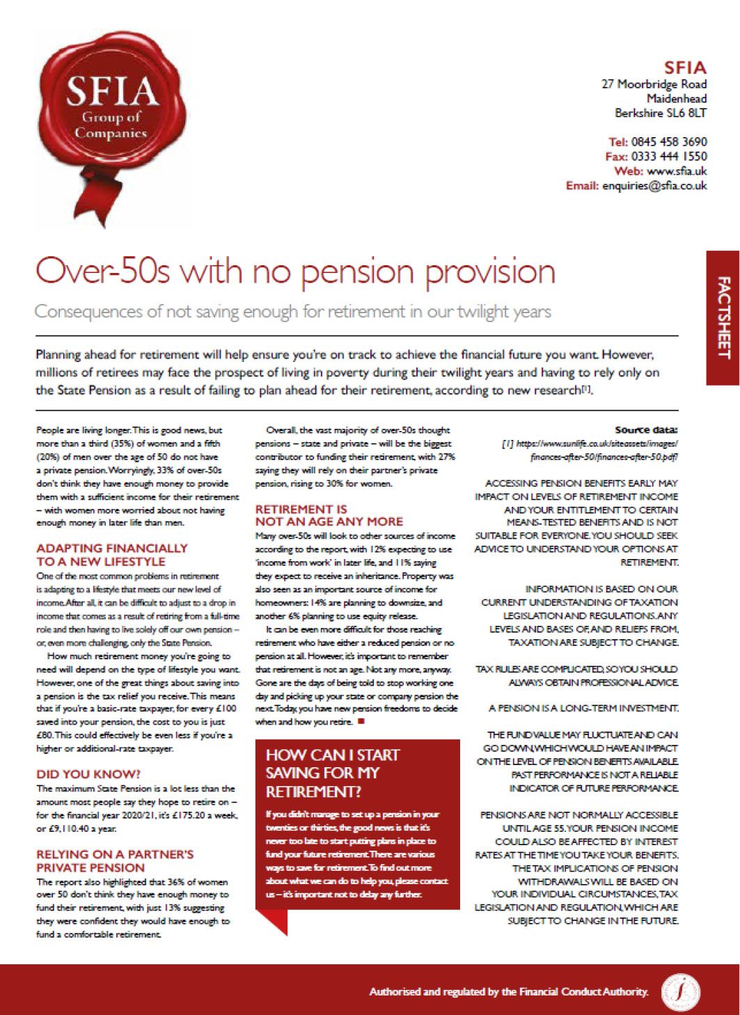 Over-50's with no pension image